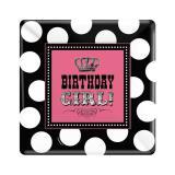 """8 assiettes carrées en carton """"Birthday Girl"""""""
