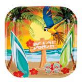 """6 assiettes en carton carrées """"Beach party"""""""