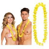 25 colliers à fleurs unicolores - jaune