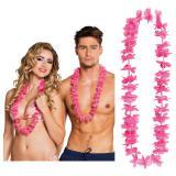 25 colliers à fleurs unicolores - rose