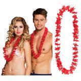 25 colliers à fleurs unicolores - rouge