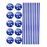 10 tiges unicolores pour ballon avec embouts - bleu