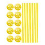 10 tiges unicolores pour ballon avec embouts - jaune