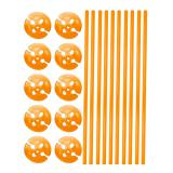 10 tiges unicolores pour ballon avec embouts - orange