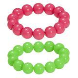 2 bracelets de perles unis fluo