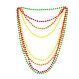 4 colliers de perles unicolores fluos