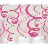 12 suspensions à spirales unies 56 cm - rose vif