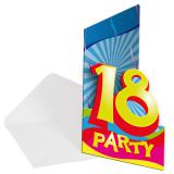 "8 cartons d'invitation ""18 Ans"""