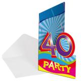 "8 cartons d'invitation ""40 Ans"""