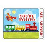 """8 cartons d'invitation avec enveloppes """"Transports & engins de chantier"""""""