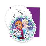"""6 cartons d´invitations avec enveloppes """"Reine des neiges - Tempête de neige"""""""