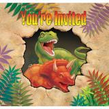 """8 cartons d'invitation avec enveloppes """"Dangereux dinosaures"""""""