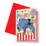 """6 cartons d'invitation """"Adorable Winnie l'ourson"""" Bourriquet avec enveloppes"""