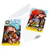 "6 cartons d'invitation ""Petit pirate"" avec enveloppes"