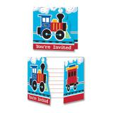 """8 cartons d´invitation """"Petit train coloré"""" avec enveloppes"""