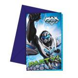 "6 cartons d'invitation ""Max Steel"" avec enveloppes"