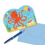 """8 cartons d'invitation """"Amis des océans"""" avec enveloppes"""