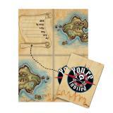"""8 cartons d'invitation """"Carte au trésor de pirate"""" avec enveloppes"""