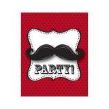"""8 cartons d'invitation """"Drôle de moustache"""""""