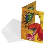 "6 cartons d'invitation ""Dinosaures aventuriers"" avec enveloppes"