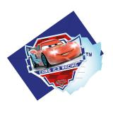"6 cartons d'invitations ""Course folle Cars"" avec enveloppes"