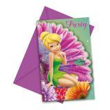 """6 cartons d'invitation """"Le monde de la fée Clochette"""" avec enveloppes"""