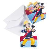"""8 cartons d'invitation """"Sam le pompier"""" avec enveloppes"""