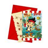 """6 cartons d'invitation """"Jake et les pirates du pays imaginaire"""" avec enveloppes"""