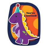 "8 cartons d'invitations ""Petit dino"" avec enveloppes"