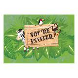 """8 cartons d'invitation """"Safari Tour"""" avec enveloppes"""