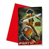 "6 cartons d'invitation ""Star Wars - Rebels"" avec enveloppes"