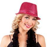 Élégant chapeau à paillettes - fuchsia