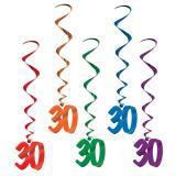 """5 suspensions à spirales colorées """"30 ans"""" 102 cm"""