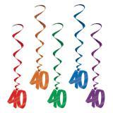"""5 suspensions à spirales colorées """"40 ans"""" 102 cm"""