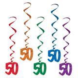 """5 suspensions à spirales colorées """"50 ans"""" 102 cm"""