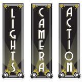 "Pancartes de tournage ""LIGHTS, CAMERA, ACTION"" 61 cm 3 pcs"