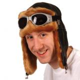 Chapeau d'aviateur en faux cuir noir