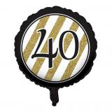 "Ballon en alu ""Black & Gold 40"" 46 cm"
