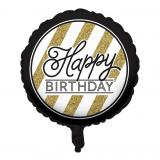 "Ballon en alu ""Black & Gold"" - Happy Birthday 46 cm"