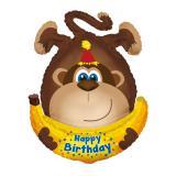 """Ballon en aluminium Happy Birthday """"Monkey party"""" 87 cm"""