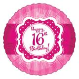 "Ballon en alu Happy Birthday ""Pretty Pink 16"" 45 cm"