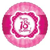 "Ballon en alu Happy Birthday ""Pretty Pink 18"" 45 cm"