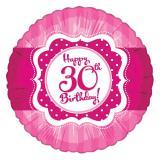 "Ballon en alu Happy Birthday ""Pretty Pink 30"" 45 cm"