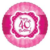 "Ballon en alu Happy Birthday ""Pretty Pink 40"" 45 cm"