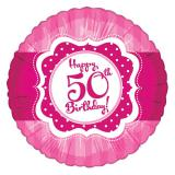 "Ballon en alu Happy Birthday ""Pretty Pink 50"" 45 cm"