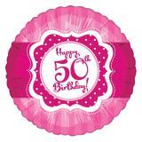 "Ballon en alu Happy Birthday ""Pretty Pink 50"" 45 cm"
