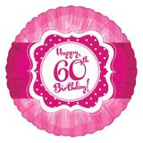"Ballon en alu ""Pretty Pink"" Happy 60th! 45 cm"