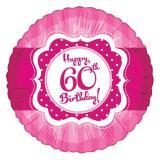 """Ballon en alu """"Pretty Pink"""" Happy 60th! 45 cm"""