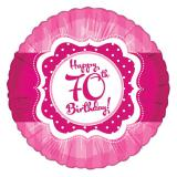 "Ballon en alu Happy Birthday ""Pretty Pink 70"" 45 cm"
