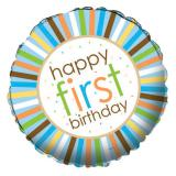 "Ballon en alu ""Premier anniversaire animalier"" 45 cm - bleu"
